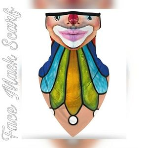 Unisex Face Mask Scarf, All in One, Freaky Clown